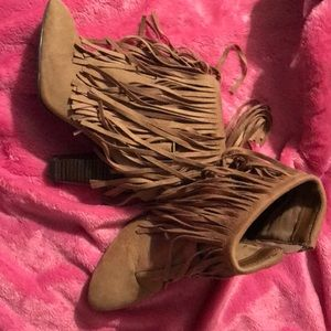 New tan fringe booties